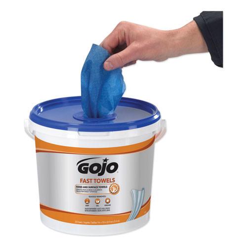 GOJO FAST TOWELS Hand Cleaning Towels  Cloth  9 x 10  Blue 225 Bucket (GOJ629902EA)