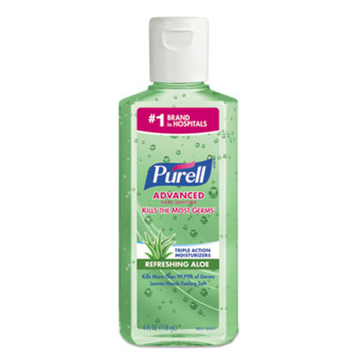 PURELL Advanced Hand Sanitizer Soothing Gel  Fresh Scent with Aloe and Vitamin E  Flip-Cap Bottle  4 oz (GOJ9631EA)