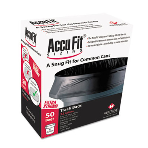 AccuFit Linear Low Density Can Liners with AccuFit Sizing  23 gal  0 9 mil  28  x 45   Black  50 Box (HERH5645TKRC1)