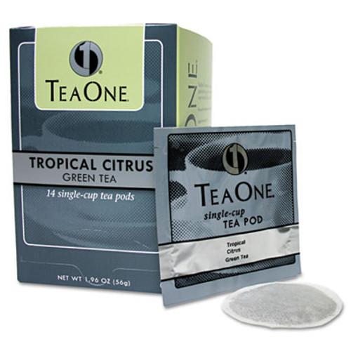 Tea One Tea Pods  Tropical Citrus Green  14 Box (JAV20700)