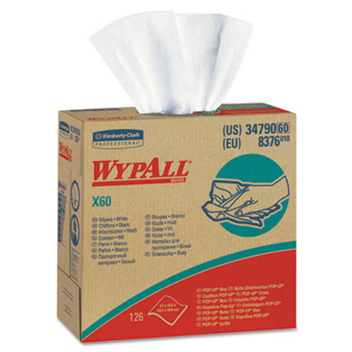 WypAll X60 Cloths  POP-UP Box  White  9 1 8 x 16 7 8  126 Box  10 Boxes Carton (KCC34790CT)