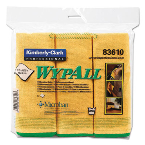 WypAll* Cloths w/Microban, Microfiber, 15 3/4 x 15 3/4, Yellow, 6/Pack (KCC83610)