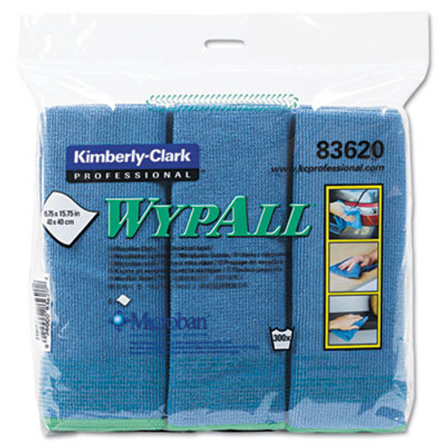 WypAll* Cloths w/Microban, Microfiber, 15 3/4 x 15 3/4, Blue, 6/Pack (KCC83620)