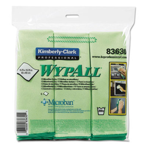 WypAll Microfiber Cloths  Reusable  15 3 4 x 15 3 4  Green  6 Pack (KCC83630)