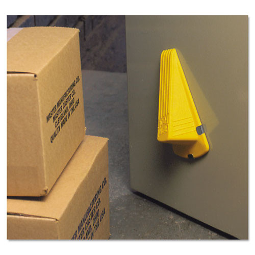 Master Caster Giant Foot Magnetic Doorstop  No-Slip Rubber Wedge  3 5w x 6 75d x 2h  Yellow (MAS00967)