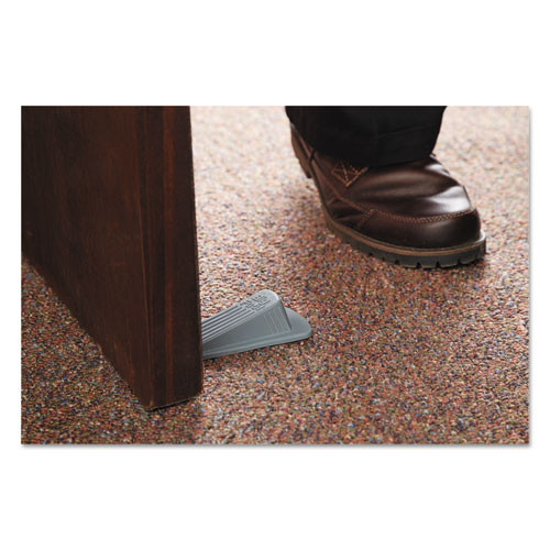 Master Caster Big Foot Doorstop  No Slip Rubber Wedge  2 25w x 4 75d x 1 25h  Gray  2 Pack (MAS00972)