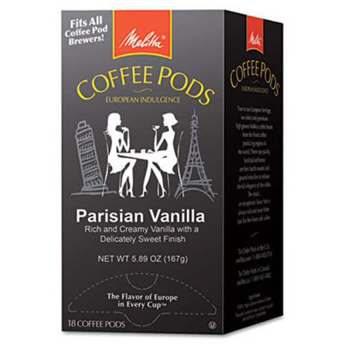 Melitta Coffee Pods  Parisian Vanilla  18 Pods Box (MLA75411)