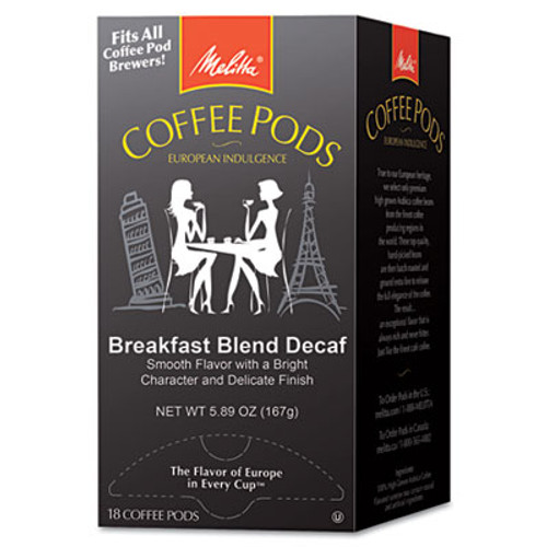 Melitta Coffee Pods  Breakfast Blend Decaf  18 Pods Box (MLA75413)