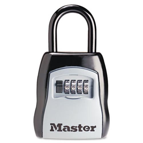 Master Lock Locking Combination 5 Key Steel Box  3 1 4w x 1 5 8d x 4h  Black Silver (MLK5400D)