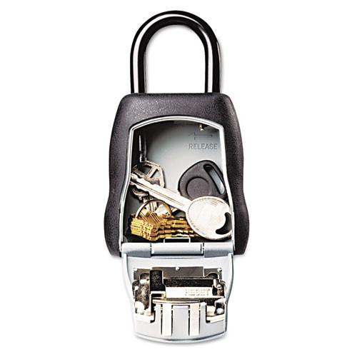 Master Lock Locking Combination 5 Key Steel Box  3 1 4w x 1 1 2d x 4 5 8h  Black Silver (MLK5401D)