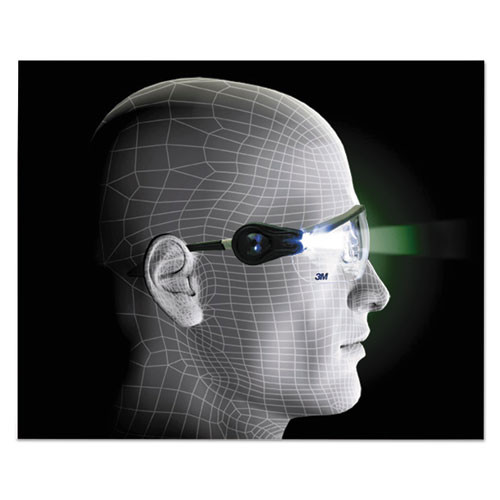 3M LightVision Safety Glasses w LED Lights  Clear AntiFog Lens  Gray Frame (MMM114760000010)