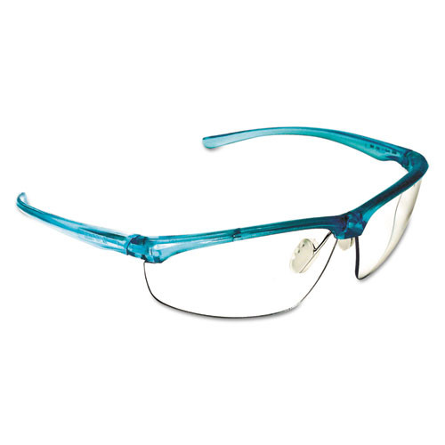 3M Refine 201 Safety Glasses  Half-frame  Clear AntiFog Lens  Teal Frame (MMM117350000020)