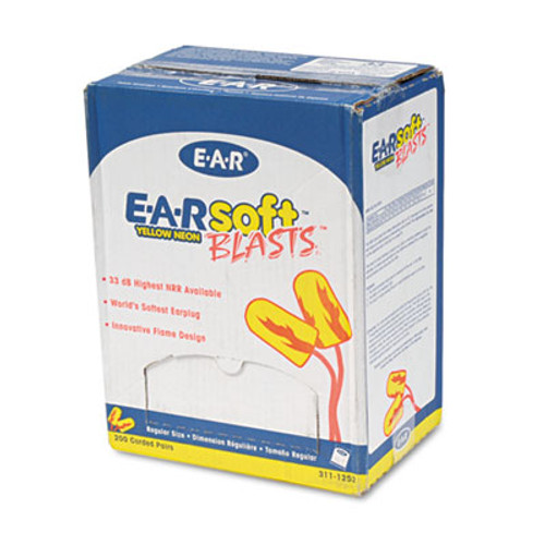 3M E·A·Rsoft Blasts Earplugs, Corded, Foam, Yellow Neon, 200 Pairs (MMM3111252)