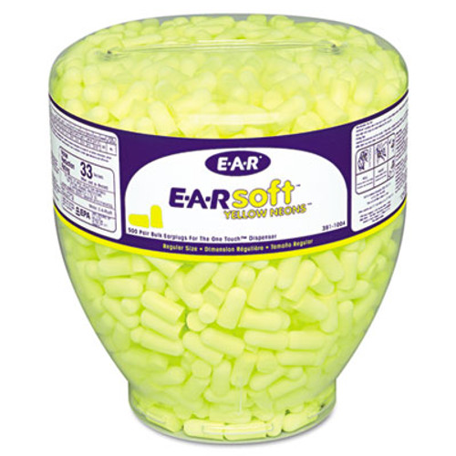 3M E·A·Rsoft Neon Tapered Earplug Refill, Cordless, Yellow, 500/Box (MMM3911004)