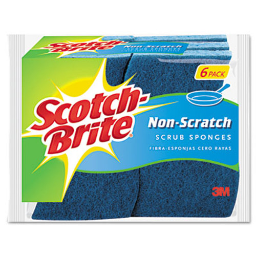 Scotch-Brite Non-Scratch Multi-Purpose Scrub Sponge, 4 2/5 x 2 3/5, Blue, 6/Pack (MMM526)