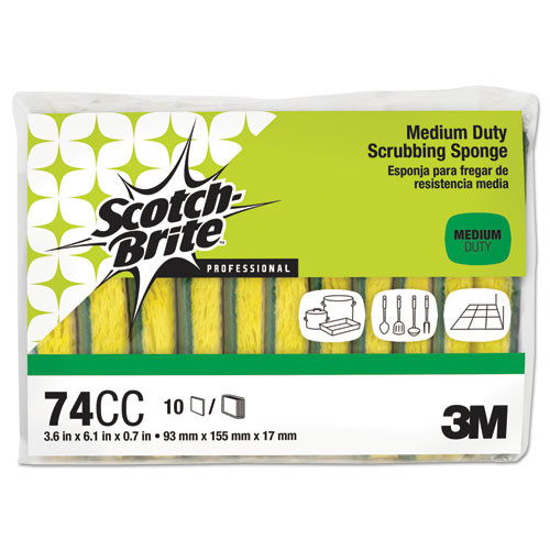 Scotch-Brite PROFESSIONAL Medium-Duty Scrubbing Sponge  3 6 x 6 1  10 Pack (MMM74CC)