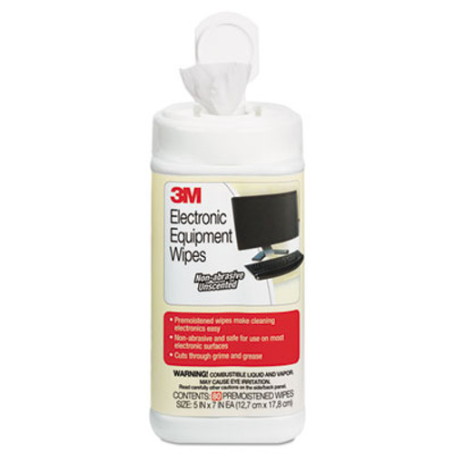 3M Electronic Equipment Cleaning Wipes, 5 1/2 x 6 3/4, White, 80/Canister (MMMCL610)