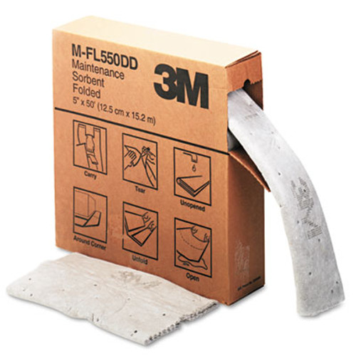3M Sorbent  High-Capacity  Folded Maintenance  10 5gal Capacity  1 Roll Box (MMMMFL550DD)