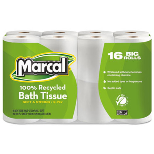 Marcal 100  Recycled Two-Ply Bath Tissue  Septic Safe  2-Ply  White  168 Sheets Roll  16 Rolls Pack (MRC1646616PK)
