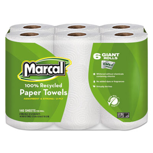 Marcal 100  Recycled Roll Towels  2-Ply  5 1 2 x 11  140 Roll  6 Rolls Pack (MRC6181PK)