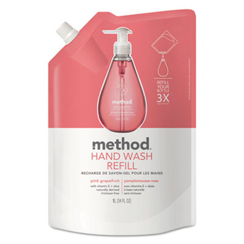 Method Gel Hand Wash Refill, Pink Grapefruit, 34 oz Pouch (MTH00655)