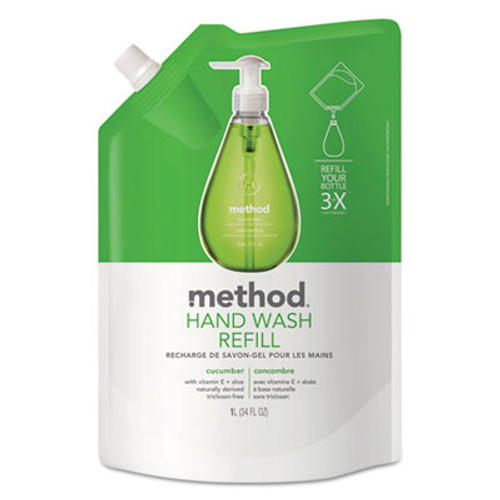Method Gel Hand Wash Refill, Cucumber, 34 oz Pouch (MTH00656)