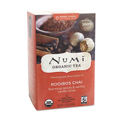 Numi Organic Teas and Teasans, 1.71oz, Rooibos Chai, 18/Box (NUM10200)
