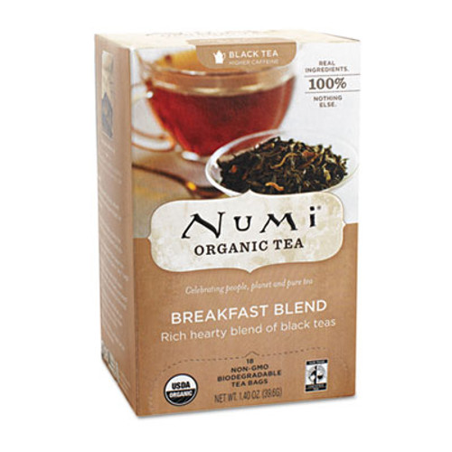Numi Organic Teas and Teasans  1 4 oz  Breakfast Blend  18 Box (NUM10220)