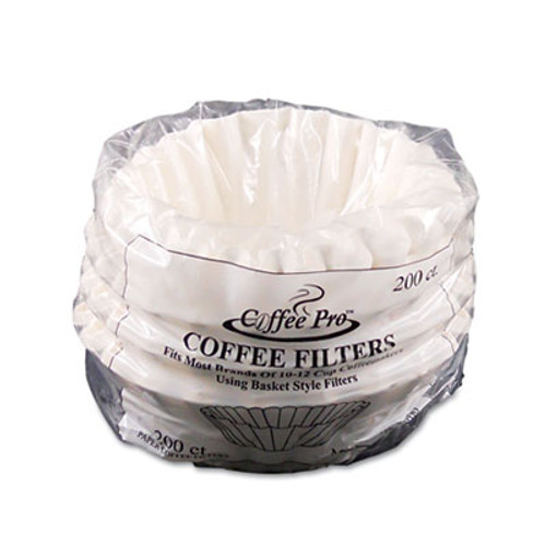 Coffee Pro Basket Filters for Drip Coffeemakers  10 to 12-Cups  White  200 Filters Pack (OGFCPF200)