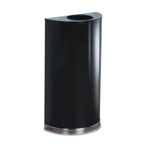 Rubbermaid Commercial European and Metallic Series Open Top Receptacle  Half-Round  12 gal  Black Chrome (RCPSO1220B)
