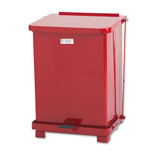 Rubbermaid Commercial Defenders Biohazard Step Can, Square, Steel, 7gal, Red (RCPST7ERDPL)