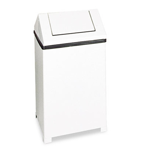 Rubbermaid Commercial Fire-Safe Swing Top Receptacle, Square, Steel, 24gal, White (RCPT1424ERBWH)
