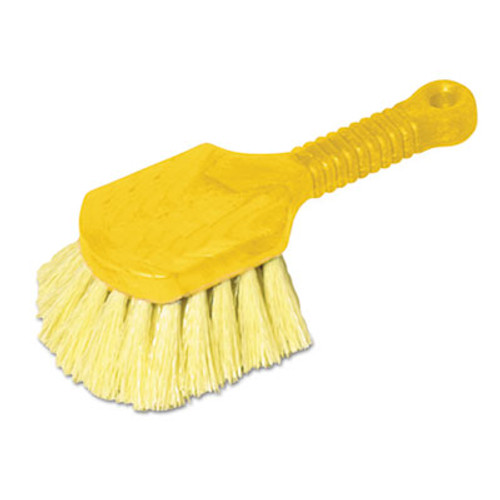 "Rubbermaid Commercial Long Handle Scrub, 8"" Plastic Handle, Yellow Handle w/Yellow Bristles (RCP9B29)"