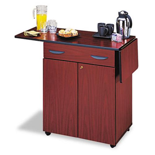 Safco Hospitality Service Cart  One-Shelf  32 5w x 20 5d x 38 75h  Mahogany (SAF8962MH)