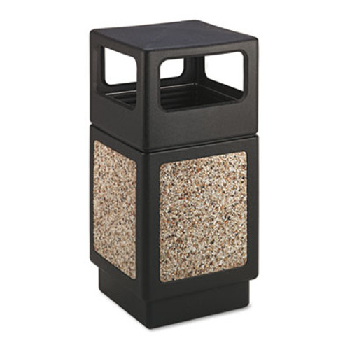 Safco Canmeleon Side-Open Receptacle, Square, Aggregate/Polyethylene, 38gal, Black (SAF9472NC)