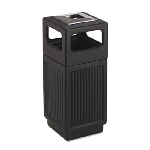 Safco Canmeleon Ash Trash Receptacle  Square  Polyethylene  15 gal  Textured Black (SAF9474BL)