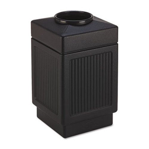 Safco Canmeleon Top-Open Receptacle  Square  Polyethylene  38 gal  Textured Black (SAF9475BL)