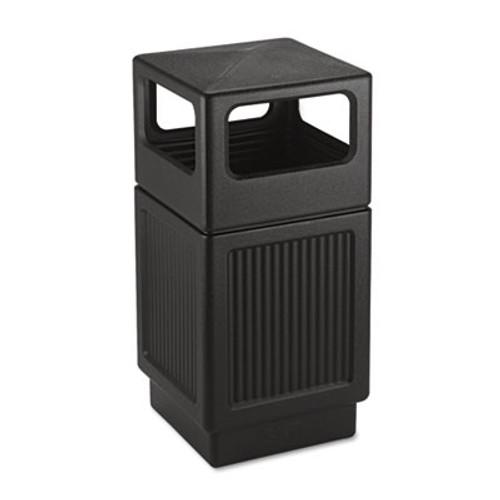 Safco Canmeleon Side-Open Receptacle, Square, Polyethylene, 38gal, Textured Black (SAF9476BL)