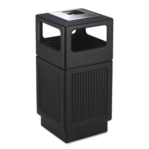 Safco Canmeleon Ash Trash Receptacle  Square  Polyethylene  38 gal  Textured Black (SAF9477BL)