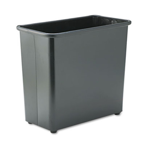 Safco Rectangular Wastebasket  Steel  27 5 qt  Black (SAF9616BL)