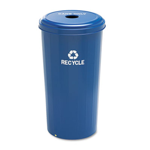 Safco Tall Recycling Receptacle for Cans, Round, Steel, 20gal, Recycling Blue (SAF9632BU)
