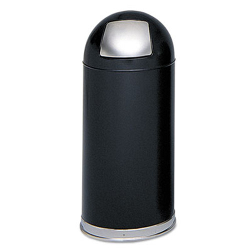Safco Dome Receptacle with Spring-Loaded Door  Round  Steel  15 gal  Black (SAF9636BL)