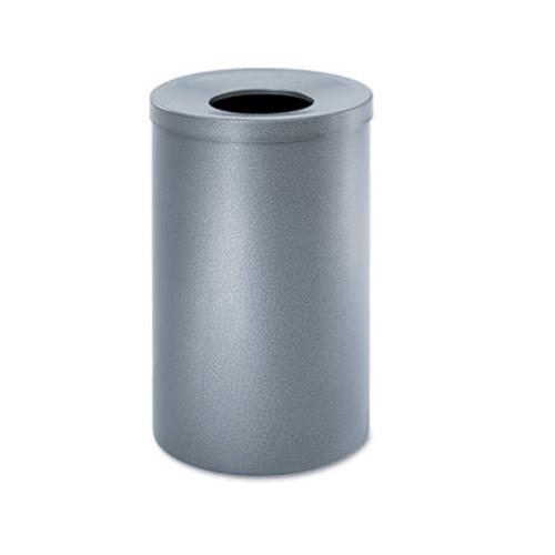 Safco Open-Top Waste Receptacle  Round  Steel  35 gal  Black Speckle (SAF9677NC)