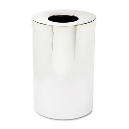 Safco Reflections Open-Top Receptacle  Round  Steel  35 gal  Chrome Black (SAF9695)