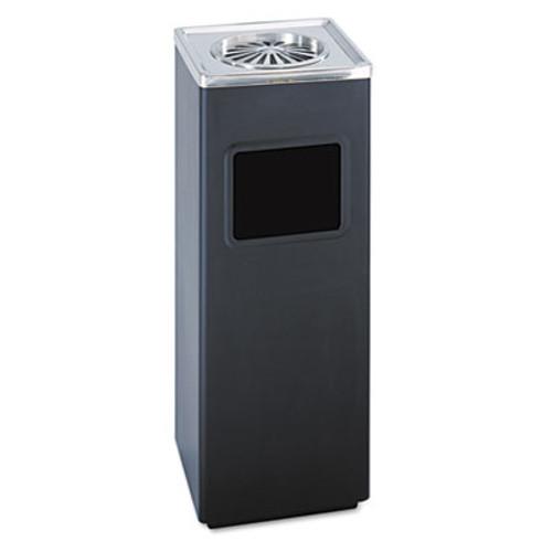 Safco Ash 'N Trash Sandless Urn  Square  Stainless Steel  3 gal  Black Chrome (SAF9696BL)