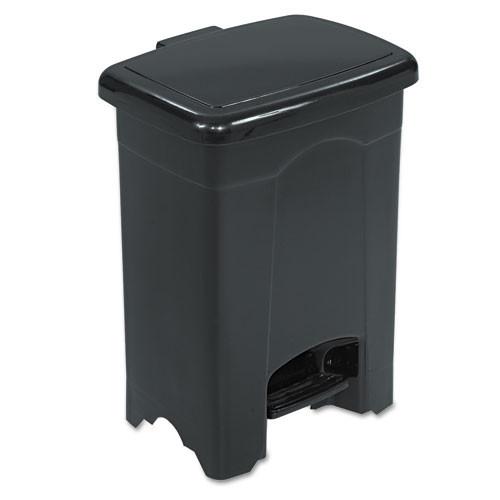 Safco Step-On Receptacle  Rectangular  Plastic  4 gal  Black (SAF9710BL)