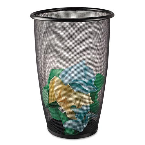 Safco Onyx Round Mesh Wastebasket  Steel Mesh  9 gal  Black (SAF9718BL)