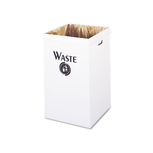 Safco Corrugated Waste Receptacle, Square, 40gal, White, 12/Carton (SAF9745)