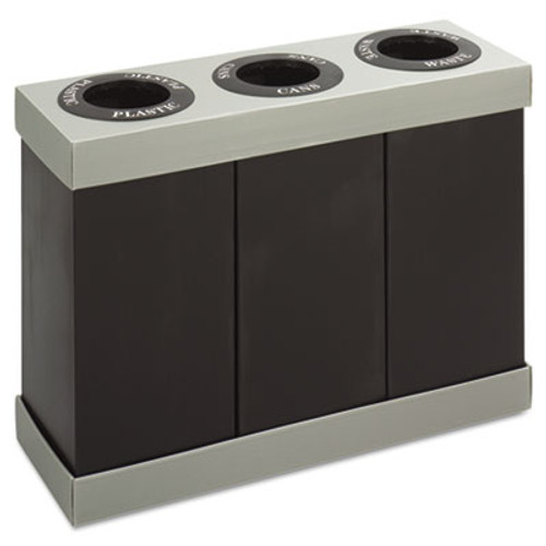 Safco At-Your-Disposal Recycling Center  Polyethylene  Three 84 gal Bins  Black (SAF9798BL)