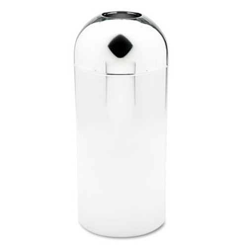 Safco Reflections Open-Top Dome Receptacle  Round  Steel  15 gal  Chrome (SAF9875)